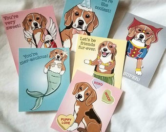 Beagle Valentine Cards - Mini Eco-friendly Set of 6