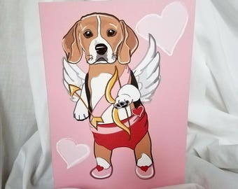 Cupid Beagle Greeting Card