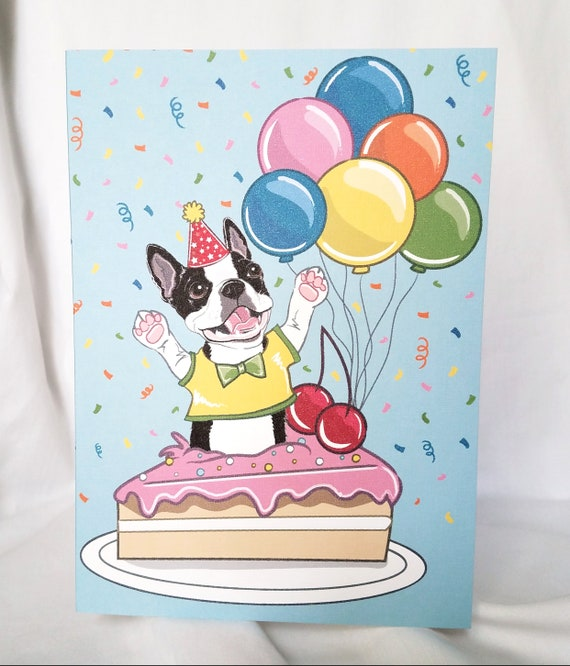 Excellent Boston Terrier N Birthday Cake Greeting Card Etsy Personalised Birthday Cards Paralily Jamesorg