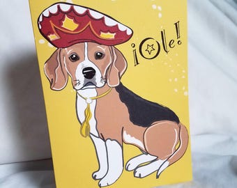 Fiesta Beagle Greeting Card
