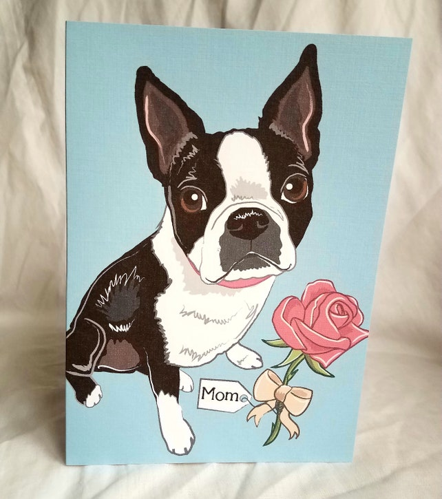 Rose Boston Terrier - Customized with Your Name Choice - Greeting Card