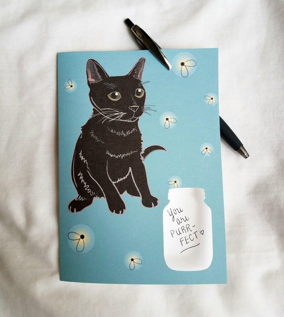 Firefly Black Cat - Mason Jar Cutout - Greeting Card