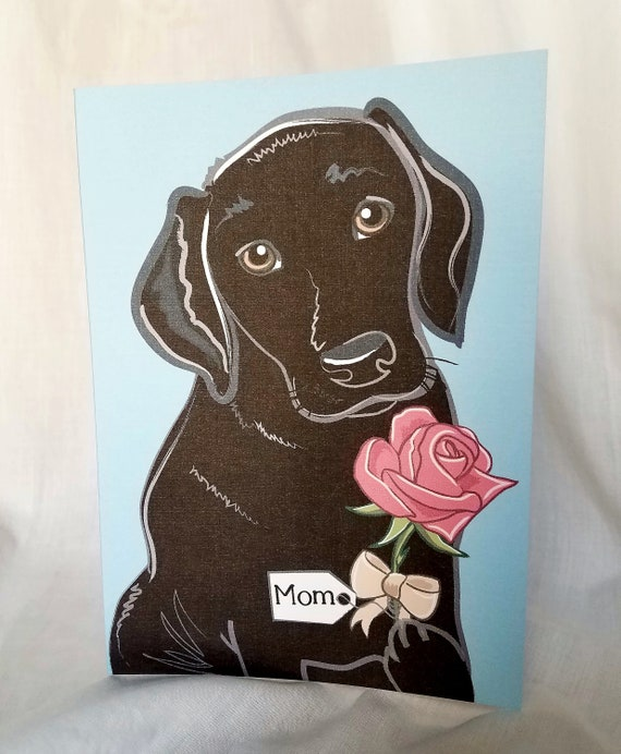 Rose Black Lab - Customized with Your Name Choice - Greeting Card