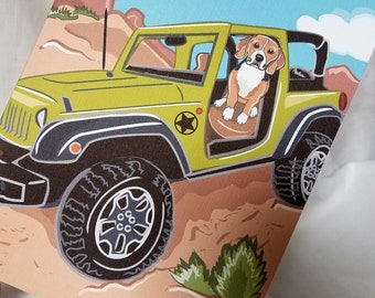 Offroad Beagle Greeting Card