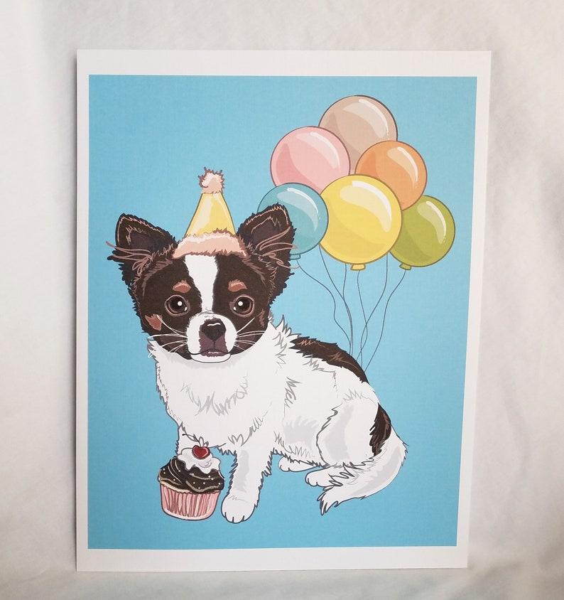 Birthday Pet Portrait One Pet Only Eco-Friendly 8x10 Print on Linen Paper