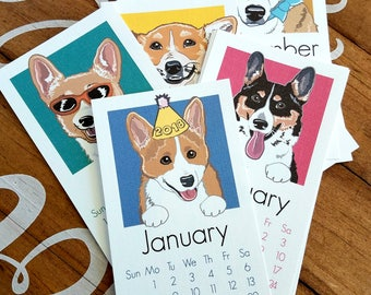 Reserved - 2018 Corgi Calendar - Printed on Recycled Linen Paper