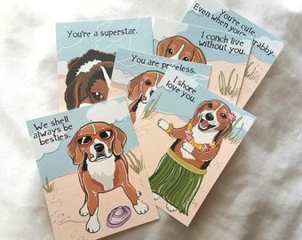 Beach Beagle Valentines - Eco-friendly Set of 6