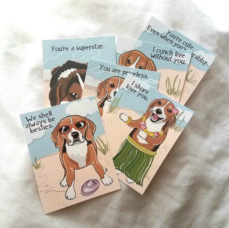 Beach Beagle Valentines Eco-friendly Set of 6