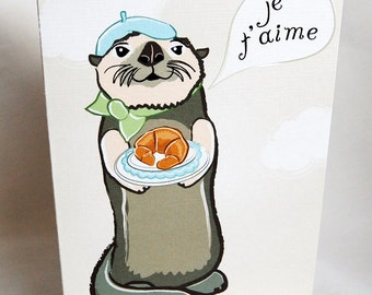 French Otter in Love Greeting Card