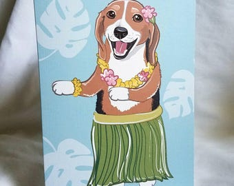 Hula Beagle Greeting Card