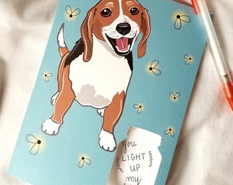 Firefly Beagle - Mason Jar Cutout - Greeting Card