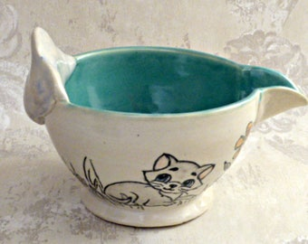 Batter/Mixing Bowl in White and Turquoise with Kitty Cat