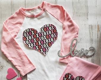 2b3cf38ed Valentines Day Shirt XOXO   Heart Knee Patch Leggings