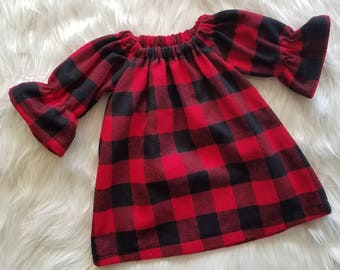 fc2a8ee8ec19 Buffalo Plaid Flannel Dress - Christmas Dress for Girls - Red and Black  Plaid - Bell Sleeve Dress