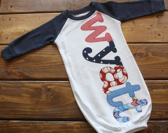 Personalized Newborn Gown - Take Home Outfit - Newborn Hat - Newborn Baseball Outfit - Baby Gown with Name
