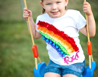 Rainbow Shirt, Girl Birthday Shirt, Birthday Party Outfit, Personalized Shirt, Girls Boutique Clothing, Ribbon Shirt, Made To Order, Unicorn
