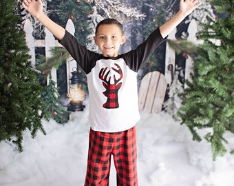 Kids Christmas Pajamas - Buffalo Plaid Flannel Pants - Family Christmas Pajamas - Plaid Nightgown
