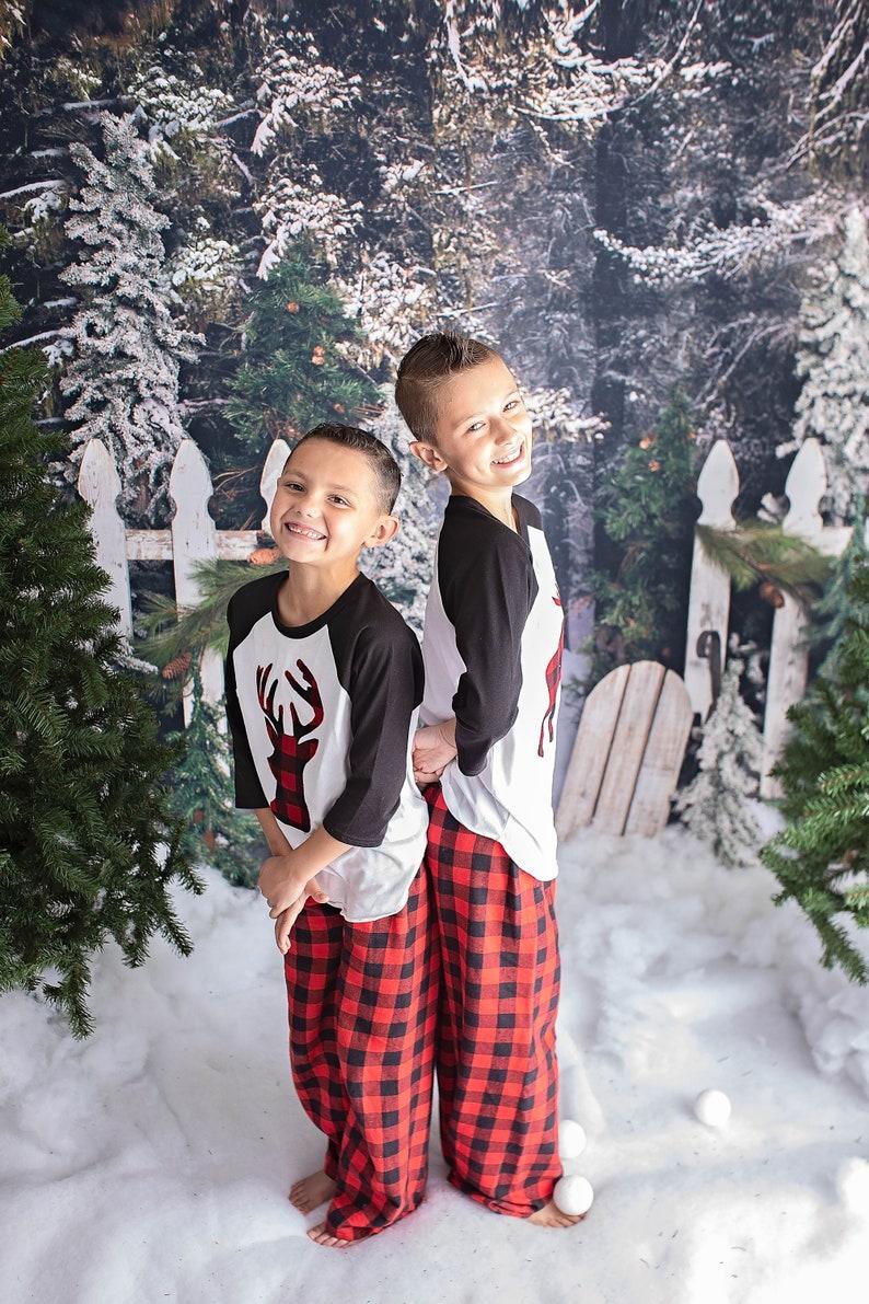 Kids Christmas Pajamas Buffalo Plaid Flannel Pants