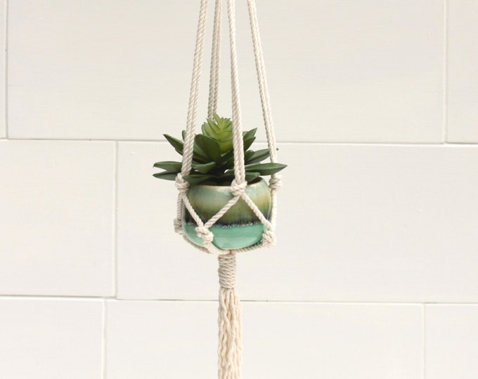 small hanging planter // macramé pot holder with pot // macrame plant hanger