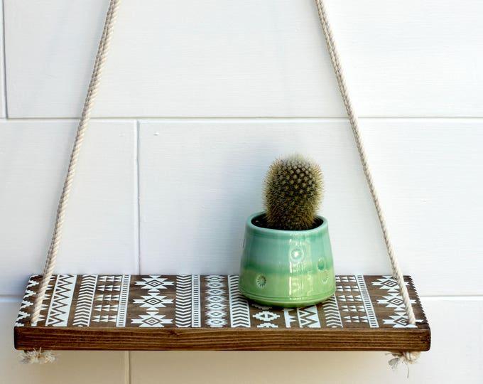 wood shelf // swing shelves // boho shelves // rope shelf