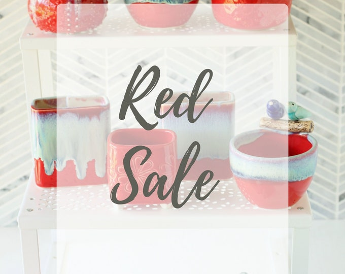 Featured listing image: Red Sale // handmade pottery // red pottery // red decor