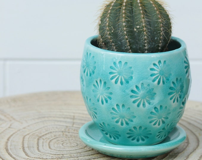 aqua planter // small planter // coastal decor // cactus planter