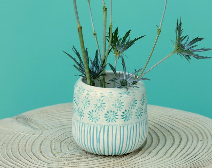 aqua succulent container // stamped vase // aqua vase