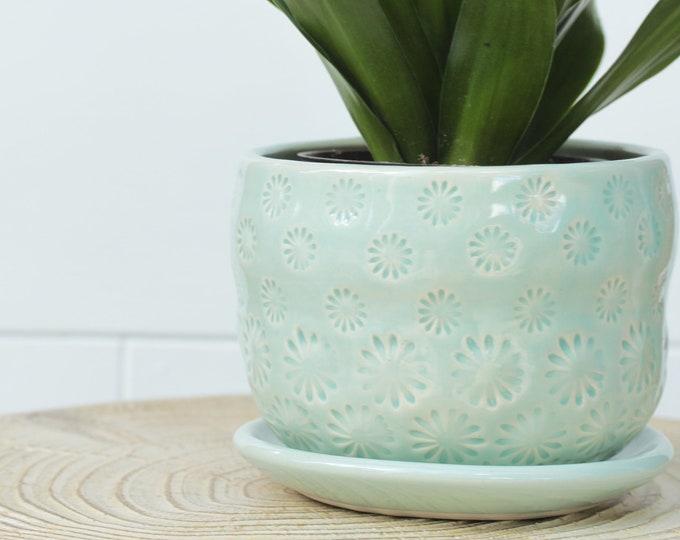 coastal planter // cactus planter // succulent pot // ceramic pot // flower pot