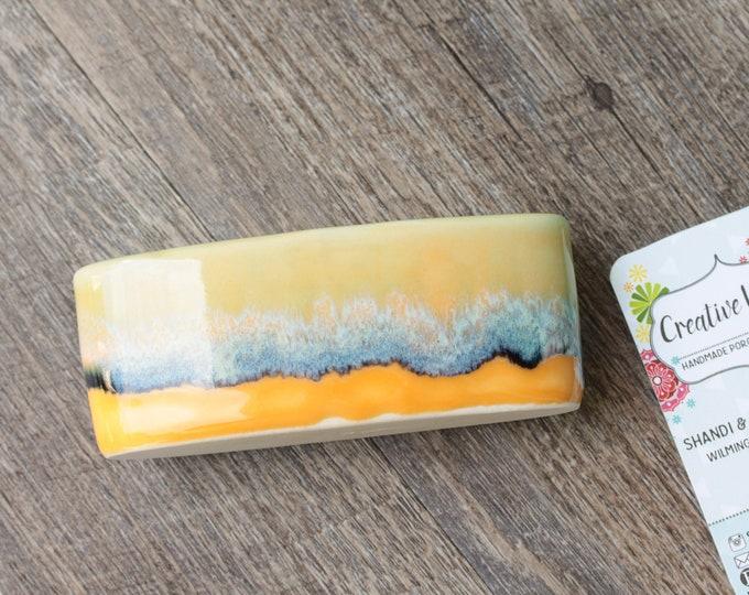 orange business card holder // boho card holder // card display