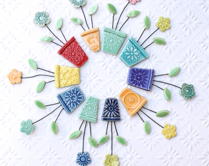 flower pot magnet yellow and red // fridge magnet // flower pot