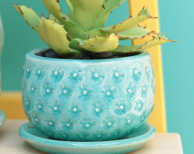 aqua planter // small planter // coastal decor // cactus planter
