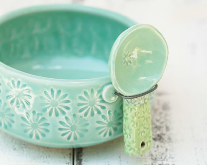 aqua and green salt cellar and spoon