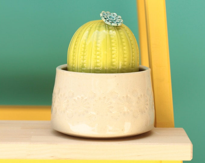 porcelain cactus and pot // cactus decor // cactus plant  // cactus pot