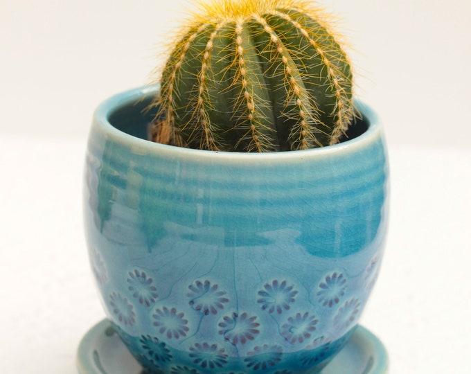 blue succulent planter // cactus planter // succulent pot // ceramic pot // flower pot