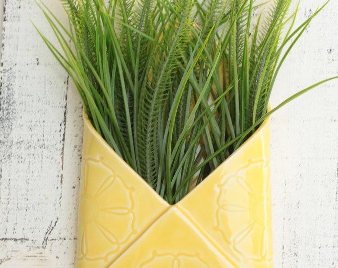 porcelain envelope wall vase // hanging wall vase  // yellow vase