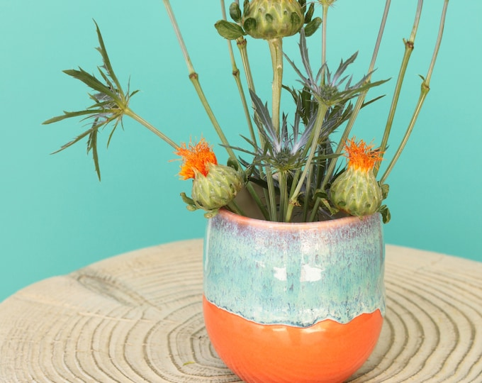 orange bud vase // coastal decor // boho vase // small flower vase // brush organizer