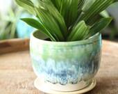 aqua succulent planter cactus planter succulent pot ceramic pot flower pot coastal decor