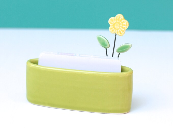 flower business card holder in lime green
