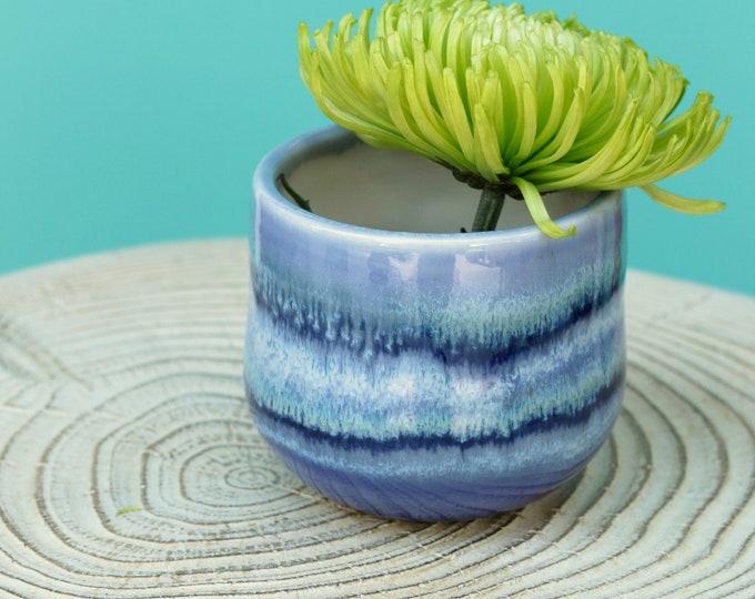purple bud vase // coastal decor // boho vase // small flower vase // brush organizer