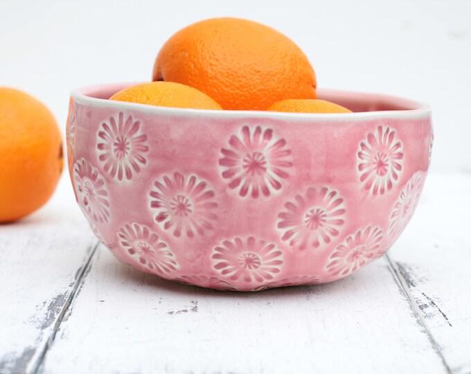 pink stoneware bowl