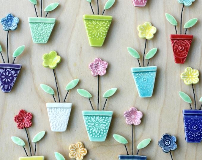 flower pot magnet teal and purple // fridge magnet // flower pot