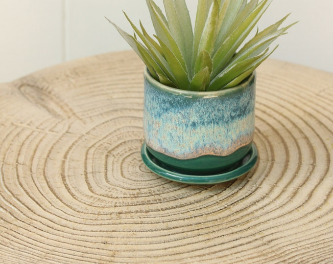 tiny green and blue planter // succulent container // boho decor // small planter