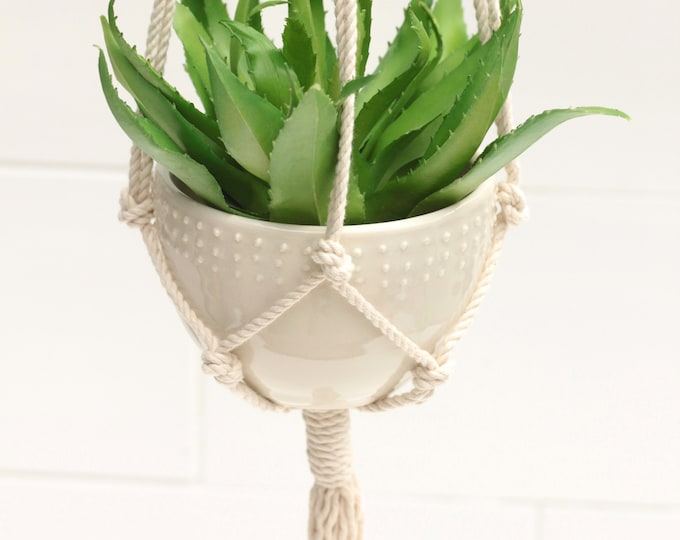 macrame plant hanger with pot // boho hanging vase // nursery decor