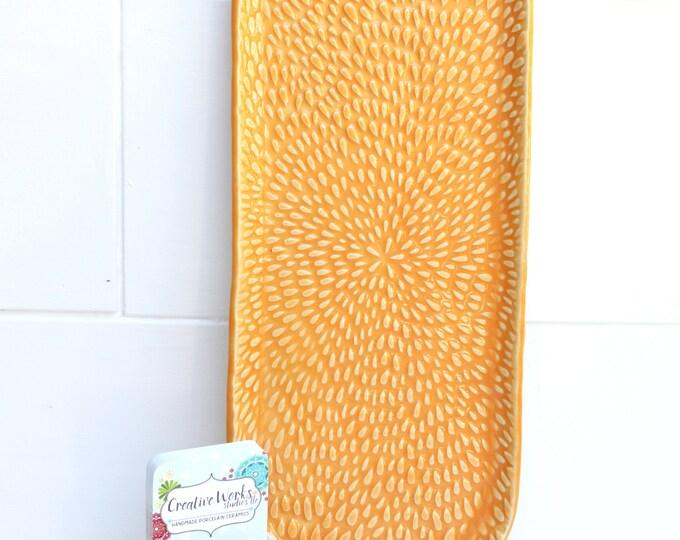 textured oval plate // ceramic platter // flower plate // orange dish