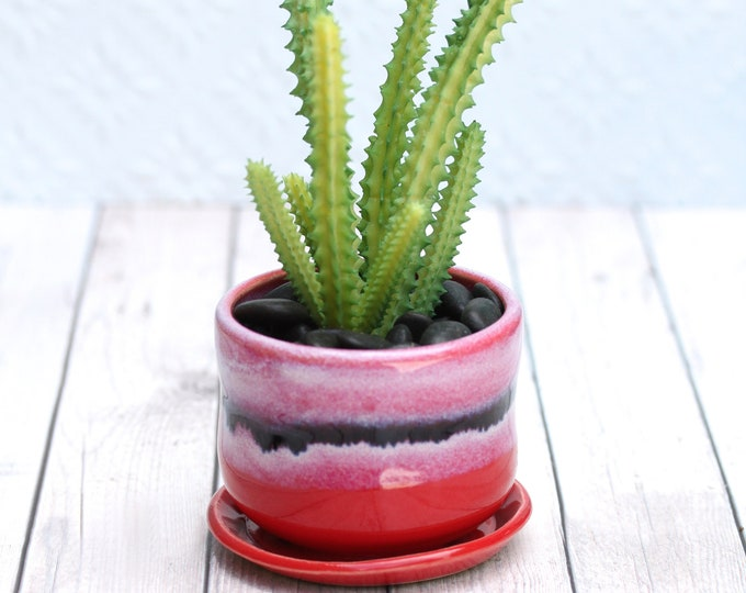 small red planter// succulent container // boho decor