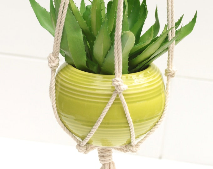 macrame plant hanger WITH handmade planter // hanging planter