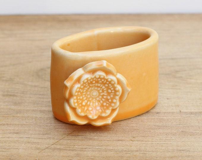 orange vertical business card holder, porcelain