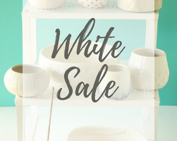Featured listing image: White Sale // handmade pottery // white pottery // white  decor // white ceramics // farmhouse pottery