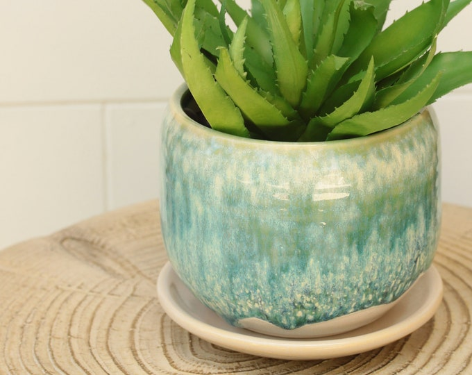 aqua succulent planter // cactus planter // succulent pot // ceramic pot // flower pot //coastal decor