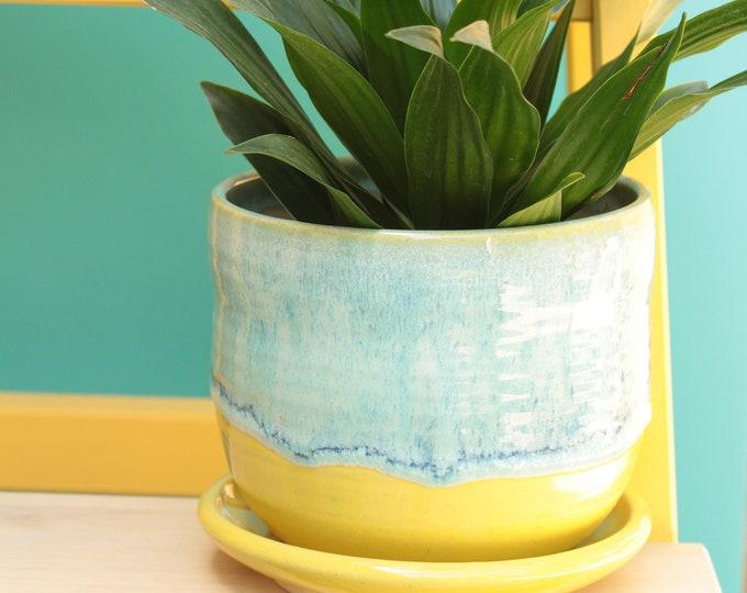 yellow planter // yellow cactus planter // succulent pot // ceramic pot // flower pot //coastal decor